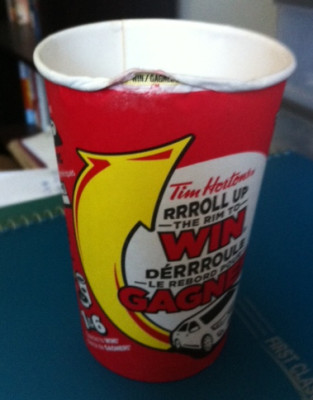Winner Roll Up The Rim Tim Horton's coffee